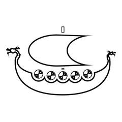 Viking drakkar Dracar sailboat Viking's ship Viking boat icon black color vector illustration flat style image