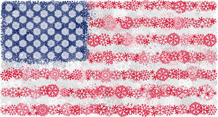 Flag of United States of America with snowflakes. Winter vector background