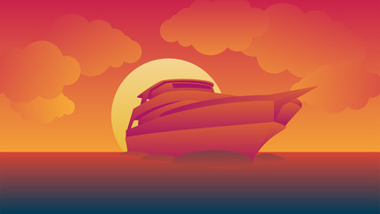 Cruises sail during sunset vector image and background