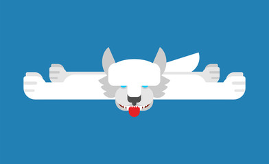 White wolf skin trophy hunting isolated. Vector illustration
