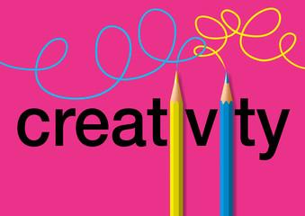 Concept de la créativité, avec le mot écrit en noir sur un fond rose et deux crayons de couleurs jaune et bleu qui remplace les i, et tracent deux lignes de couleurs, enlacées.