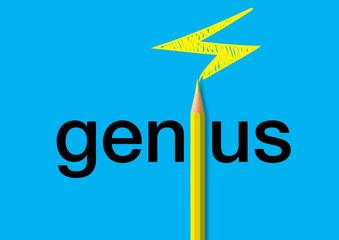 Concept du génie, avec le mot écrit en noir sur un fond bleu et un crayon jaune qui remplace le i et dessine un éclair