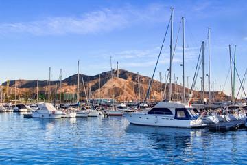Cityscape on spanish coastal city in Mediterranean sea