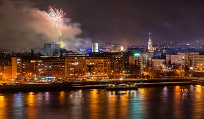 Novi Sad, Serbia - January 01, 2019: Fireworks in Novi Sad, Serbia. New Year`s fireworks.