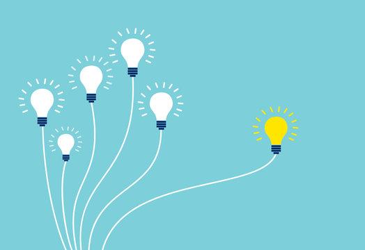 Vector of light bulbs on blue background.