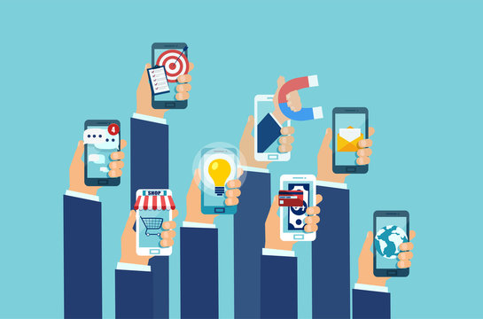 Vector of multiple hands holding smartphones with mobile applications.