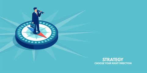 Vector of a businessman standing on compass showing direction. Symbol of strategy, future vision.