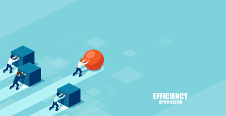 Businessman pushing a sphere leading the race against a group of slower businessmen pushing boxes