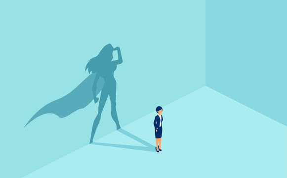 Vector of a businesswoman with superhero shadow.