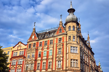 Facade of historic tenement house on the market in Swidnica in Poland..