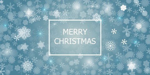 Abstract blue background. A lot of different shining snowflakes. Greeting card Merry Christmas. Vector illustration. Eps 10.
