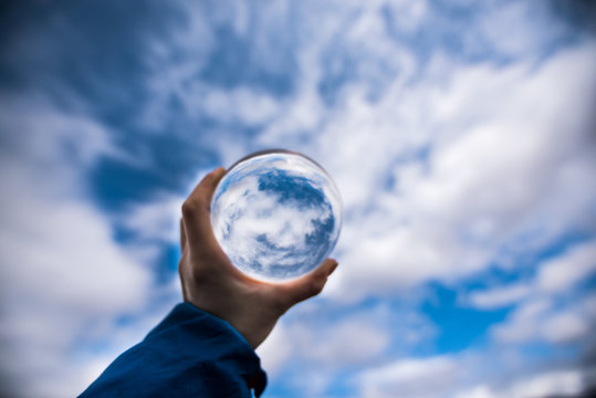 Lensball photo's summer style with clouds and blue sky