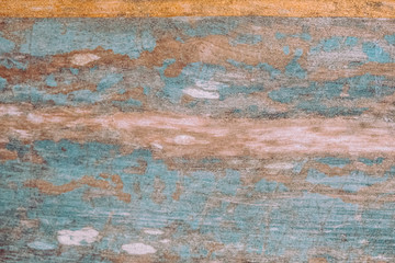 Shabby old wooden blue and yellow background.