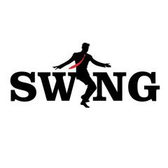 Wall Mural - Brand logo. Letters swing. Silhouette of man dancing