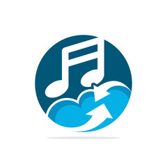 Vector illustration icon with the concept of a cloud computing system for music media services