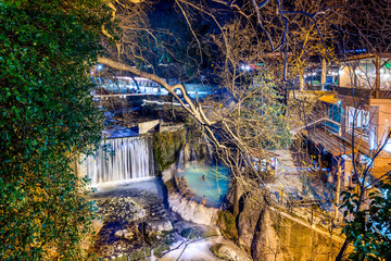 Loutra Pozar Thermal Baths and hot springs in nature in Loutraki near Edessa, Macedonia, Greece