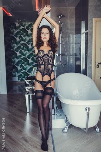 Erotic Indoors Posing Lingerie Woman In CtshrdQ