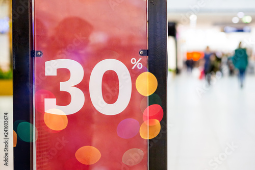 e946059833 Shopping Mall promotion 50 percent sales shop window.Discount concept .  winter