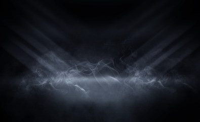 Background of an empty room, reflection of neon light on a concrete floor, puffs of smoke