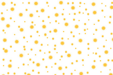 Simple graphic design.Dotted drawn yellow background with little decorative elements.