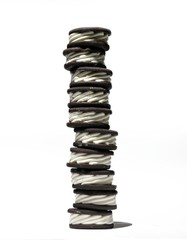 Stack of ice cream sandwiches against white background
