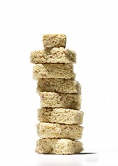 Stack of energy bars against white background