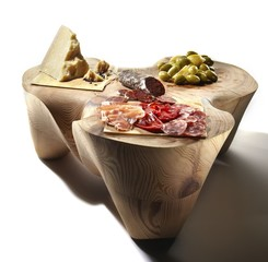 Olive, cheese, meat and salami on wooden table