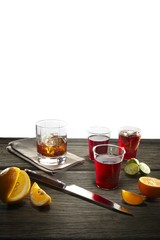 Close up of drinks on wooden table