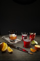 Drinks on wooden table