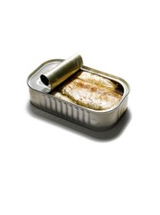 Tin seafood isolated against white background