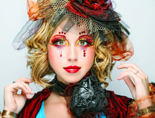 lady with artistic make-up.Doll style.