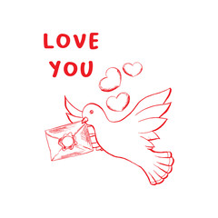 Love you sketch vector color illustration. Hand drawn angel wings and rose flower isolated clipart. Doodle outline drawing. Valentine day greeting card, dove holding envelope poster