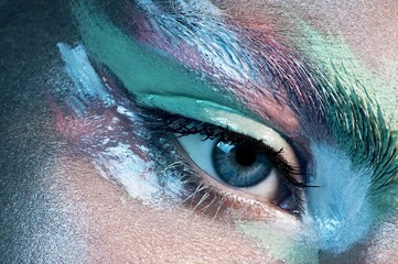Close up of woman's eye with eyeshadow makeup