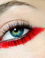 Close up of woman's eye with makeup