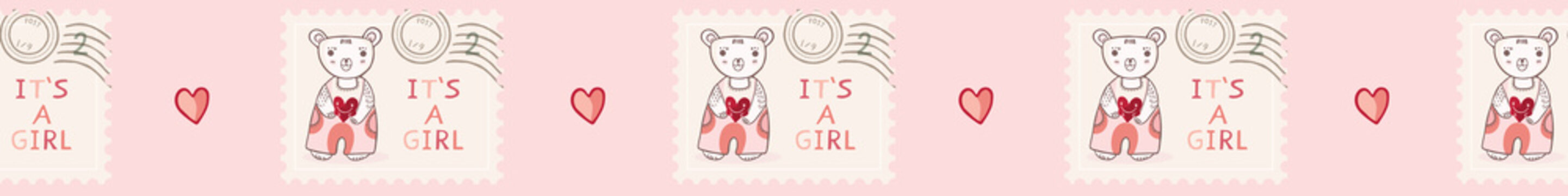 Cute it's a girl teddy bear postage stamp seamless vector border. New baby announcement in pink cartoon style. Hand drawn adorable babies shower banner ribbon illustration.