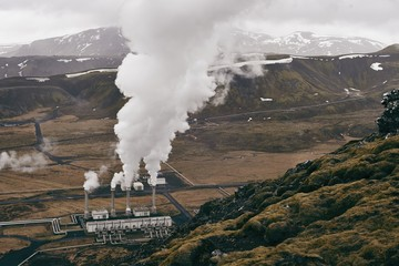 View of geothermal generator in Iceland