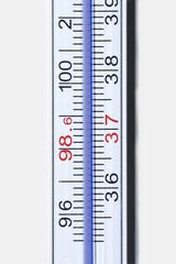 Close up of thermometer against white background