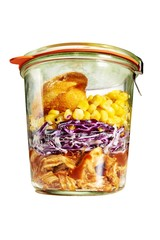 Airtight jar with food isolated against white background