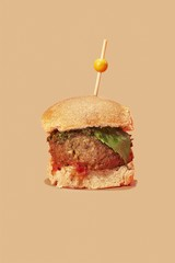 Close up of meatball sliders isolated on brown background