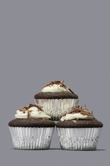 Cupcakes isolated against gray background