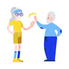 Vector illustration of aged man and woman in sportswear giving each other five in flat style - isolated smiling active elderly people for sporty and healthy lifestyle in old age concept.