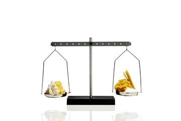 Food ingredient measuring on weighing scale