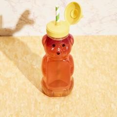 Close up of drink in teddy bear shape bottle