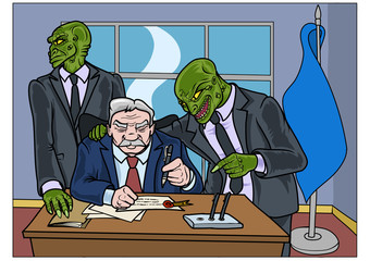 Two reptilians trying to convince a politician to sign a important document. Vector illustration