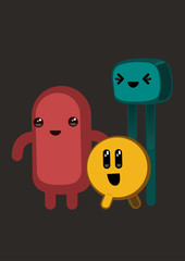 Three cute monsters in kawaii style. Vector illustration