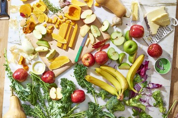 Varieties of fruits and vegetables on table