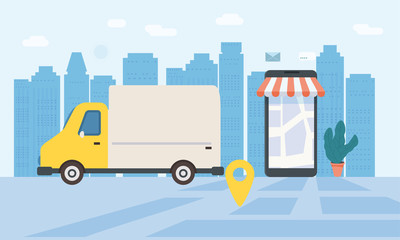 Online delivery of goods, tracking online tracker. Smartphone, parcel delivery truck, stopwatch. Concept, idea, vector, illustration for web sites, shops, animation, mobile applications, advertising