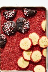 Close up of cookies and cake slices over candy cane crumb in container