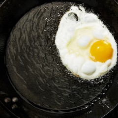 Close up of egg in frying pan