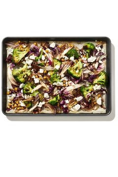 Salad served in tray over white background